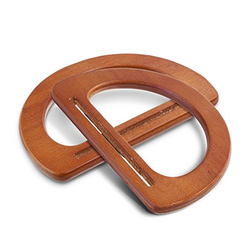 Beautyflier 1 Pair of Solid Wooden Oval Shaped Handles Replacement For Handmade Bag Handbags Purse Handle Charming Frame Canvas Shopping Tote (Light Brown)
