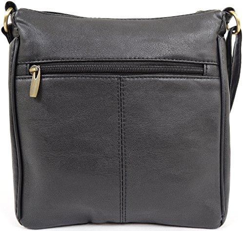 Da donna/da donna in ecopelle borsa a tracolla/borsa a spalla con perno design Black