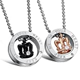 Stunning 2pcs His & Hers Couples Gift Crown Pendant Love Necklace Set for Lover Valentine