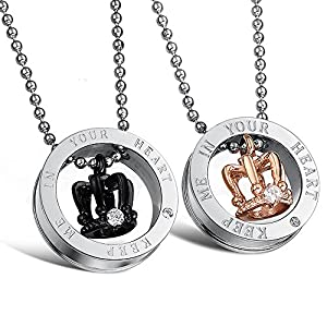 Fate Love Couples Necklace His Queen and Hers King Stainless Steel Crown Pendant Necklace for Men Women, 20-22 Inches…