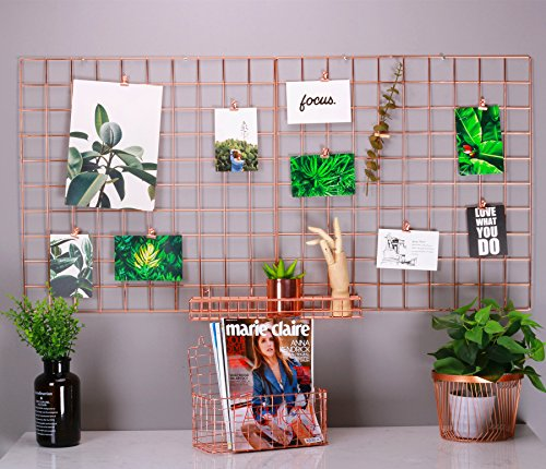 "Kufox Multifunction Electroplated Bling Metal Mesh Grid Panel, Wall Decor / Photo Wall / Wall Art Display and Organizer, Pack of 1 Pcs, Size:23.6"" x 23.6"", Rose Gold - Size:23.6"" x 23.6""/60 x 60 cm,Pack of 1 Pcs,Rose Gold Color Electroplated Bling Metal Grid Panel, they are useful in your home for collection It's great for wall Decor & storage,save more space for narrow room. - living-room-decor, living-room, home-decor - 51aF2jr cbL -"