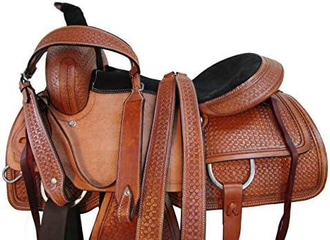 51aF2lg9mvL. AC  - Comfy Trail Saddle Pleasure Horse TACK Hand Tooled Leather Roping Roper 15 16 17