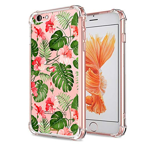 (iPhone 6 6S Floral Case, Crystal Clear with Design Cute Tropical Floral and Palm Pattern Bumper Protective Case for Apple iPhone 6 6S 4.7 Inch Gel Soft Silicone Material Slim Shockproof Flower Cover)