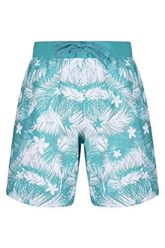 Mountain Warehouse Damen-Boardshorts, gestreift Schwimm Bade Surf Wasser Strand Wassersport Urlaub Blaugrün DE 36 (EU 38)