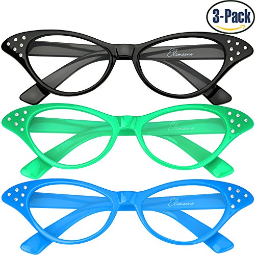 Cat Eye Glasses 3 Pack Elimoons 50s Glasses with Rhinestones Blue/Green/Black (Clear)