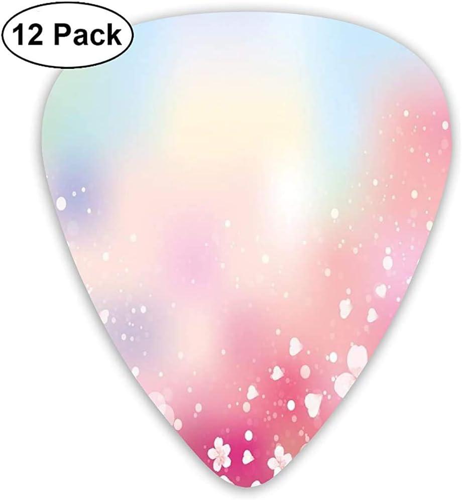 Púas de guitarra, paquete de 12, Japanese Nature Sakura Tree Cherry Blossoms Romántico Brumoso Soñador Alegre