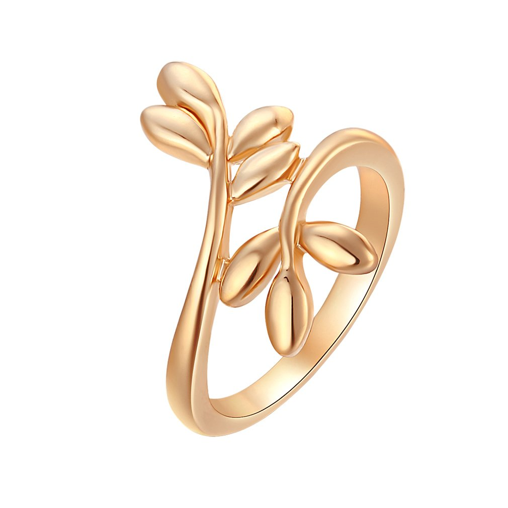 YAZILIND 18K Gold Plated Pure Leaf Shape Design Yong Lady Choice Holiday's Present Size 6.5 YAZILIND JEWELRY LIMITED 1076R0402