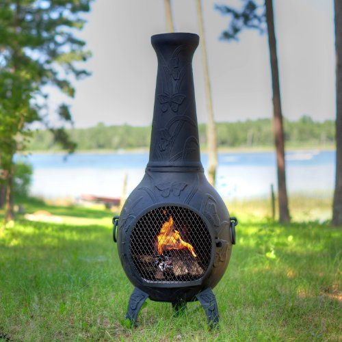 The Blue Rooster Co. Butterfly Style Cast Aluminum Wood Burning Chiminea in Charcoal. by The Blue Rooster