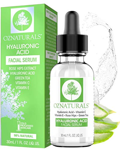 OZNaturals Hyaluronic Acid and Vitamin C Serum - Moisturizing and Anti Aging Serum For Face With Pure Vitamin E Oil and Rosehip Oil - Anti Wrinkle and Pore Minimizer Facial Serum - 1 Fl Oz