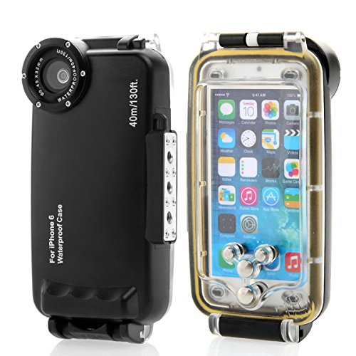 Scheam Waterproof Phone Case Heavy-Duty Skin Water-Resistant Watertightness Case Compatible with iPhone 6 4.7,-Black