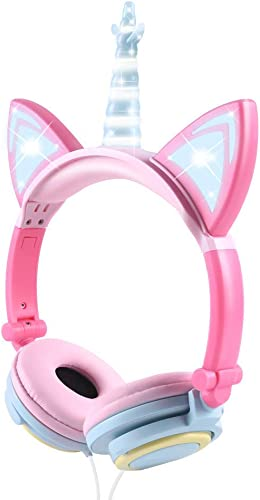 Isightguard Unicorn Kids Headphones, Cat Ear Headphones with LED Glowing,Wired Kids Headphones 85dB Volume Limited, Over Ear Headphones for Girls,Multicolor
