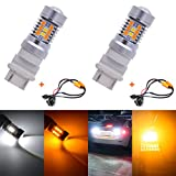 KaTur 3157 3155 3457 3057 4057 Extremely Bright Amber/White Dual Color Switchback Turn Signal LED Light Bulbs Lens Brake LED Light with Canbus Decoder Error Free 50W 8ohm Load Resistors Harness Set