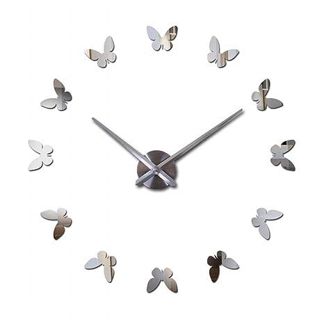 molil moderno 3d sin Marco Grande Reloj de pared DIY estilo relojes horas Room (plata
