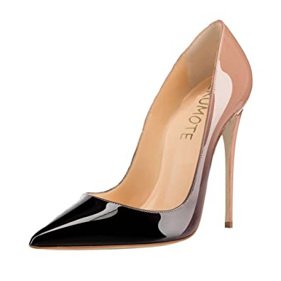 d28a365e6e20 MERUMOTE Women s Pointed Toe Stiletto High Heel Patent Leather Dress Party  Usual Pumps Nude Black 5.5