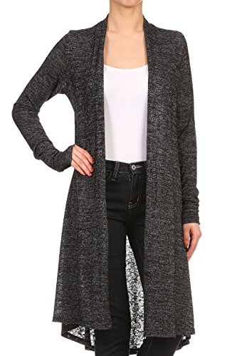 (ReneeC. Women's Long Sleeve Open Front Draped Knit Cardigan - Made in USA (3X-Large, Black 2) )