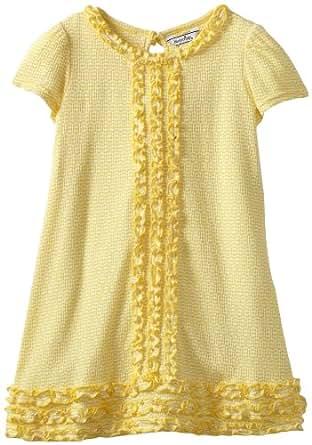 Hartstrings Little Girls' Little Novelty Knit Dress, Yellow/White Stripe, 5