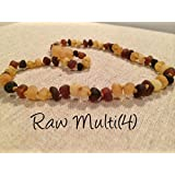 Baltic Amber Teething Necklace Raw Multi 12.5 Inch Rainbow Baby Toddler Infant Drooling Teething Fever Authentic Certified