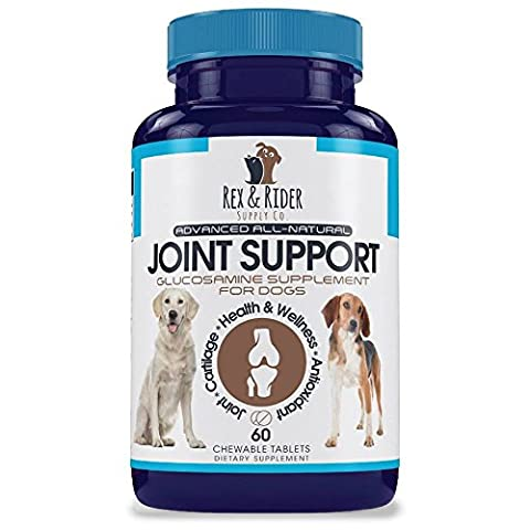 Glucosamine for Dogs with Chondroitin and MSM by Rex & Rider Supply Co., Advanced All Natural Hip and Joint Dog Treats - 60 Chewable Tablets Arthritis Pain Relief for (Her Healing Co)