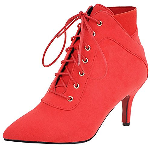 Mature Ankle Heel with Red Thin Leather Nubuck Women's Boots up Toe Party Lace Artfaerie Pointed Fur 5PpFn0a