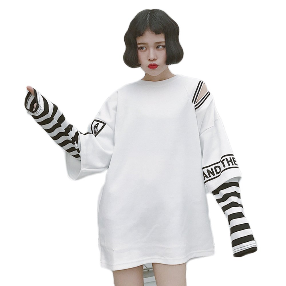 Himifashion Harajuku Women Stripe Two False Pieces Long Sleeves T-Shirt Kawaii Clothes