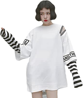 Harajuku - Camiseta de manga larga para mujer, diseño de rayas, dos piezas falsas