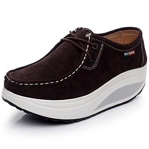 Shenn Women's Platform Fitness Chocolate Suede Leather Sneaker,US8