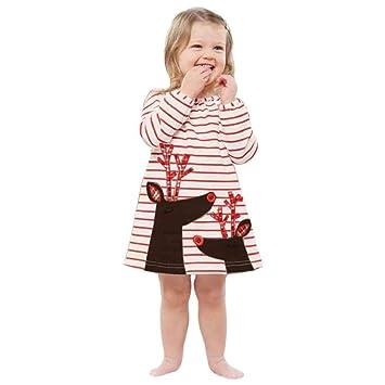 a9647a845f942 クリスマス ワンピース 女の子 キッズ Kukoyo 子供ドレス ロンT ボーダー トナカイ 柔らかい 長袖 チュニック 防寒 可愛い