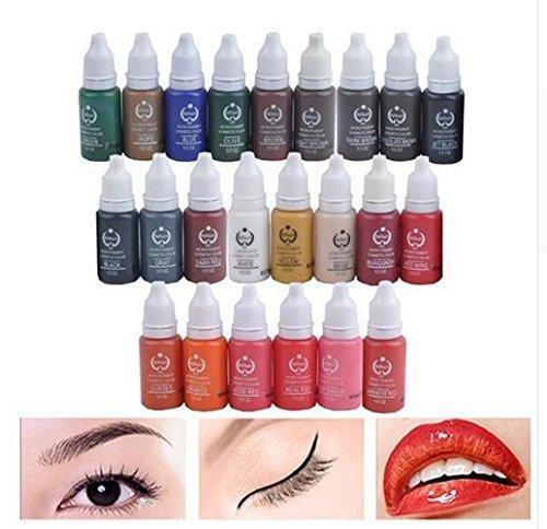23 Unids Tinta Pigmento de Maquillaje Permanente 15 MM Cosméticos 23 Tinta de Tatuaje de Color Set pintura Para Microblading Ceja Labios Maquillaje DLD