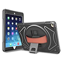 iPad Mini 1 2 3 Shockproof Case, RUIKEHUA Heavy Duty Rugged Hybird Case Cover with 360 degree Kickstand and Leather Hand Strap Kids Students