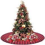 celivesgg 48 christmas tree skirt red and black buffalo check tree skirt double layers a - Peacock Christmas Tree Skirt