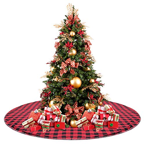 "CELIVESGG 48"" Christmas Tree Skirt Red and Black Buffalo Check Tree Skirt Double Layers a Fine Decorative Handicraft for Holiday Party"