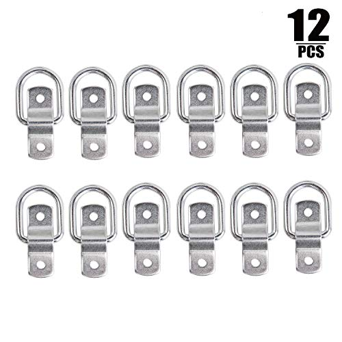 (12 Pack D Ring Set, 1/4″ Tie Down Anchor D Rings with Mounting Bracket for Loads on RV Campers, Cars, Trucks, Trailers, Boats, Motorcycles, 1200lb/Ring)