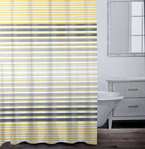 Modern Striped Shower Curtain By Caro Home, Grey And Yellow Horizontal  Stripe 100% Cotton In Charcoal Gray, Lemon And White 72 Inch By 72 Inch