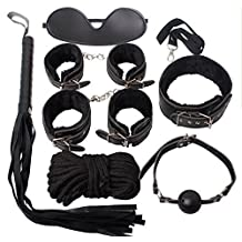 Intimate Melody® Black 7 Pcs/Pack Velvet Lining S M Kit Erotic Lady Toys Night Sex Fetish Couples Tools Set Bondage Handcuffs+Fetter+Blindfold+Flirting Horse Whip+Breathable Ball Gag+Slave Collar+ Rope