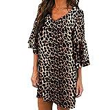Women V-Neck Dress - Half Flare Sleeve Leopard Printed Casual Party Beach Dress,2019 Fashion