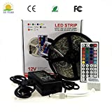 LED Strip Lights, BIMANGO 16.4ft/5M IP65 Waterproof RGB Flexible Light Strip Kit with Double PCB 44 Key Remote RGB Controller, Strengthen 3M tape, 12V 5APower Supply for Indoor and Outdoor