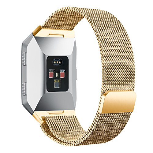 For Fitbit Ionic Bands Small and Large for Women Men, Amawell Fully Magnetic Closure Clasp Mesh Loop Milanese Stainless Steel Metal Ionic Sport Band Accessories for Fitbit Ionic Smartwatch