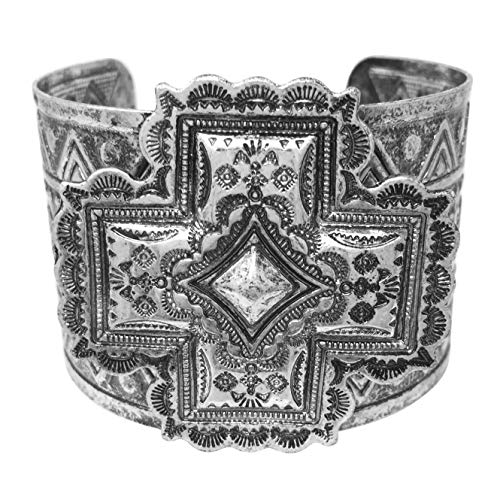Gypsy Jewels Burnished Silver Tone Wide Statement Cuff Bangle Bracelet (Squared Cross)
