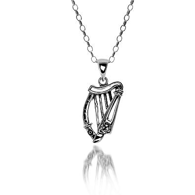 Irish harp pendant sterling silver irish harp shaped pendant with irish harp pendant sterling silver irish harp shaped pendant with shamrock detail on 18quot aloadofball Gallery