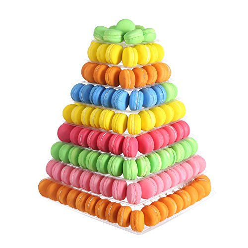 (9 Tier Clear Square Plastic Macaron Tower Stand Wedding Birthday Display)