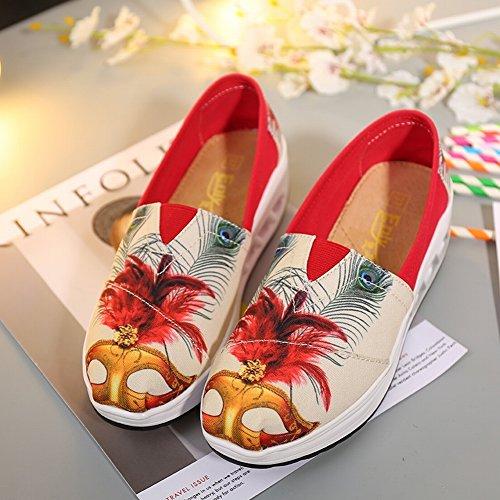 Agite Los Zapatos Bajos para Ayudar a Poner Los Zapatos Flojos de Los Pies Flojos Alrededor de Los Zapatos de Moda con la Cabeza Impermeable , rojo , EUR38