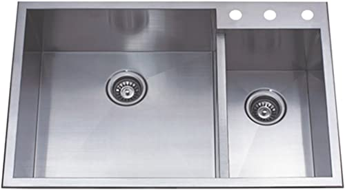 Kingston Brass Gourmetier KDS33229DBNR Uptowne 33-Inch X 22-Inch Self-Rimming 70 30 Double Bowl Sink, Brushed Stainless Steel