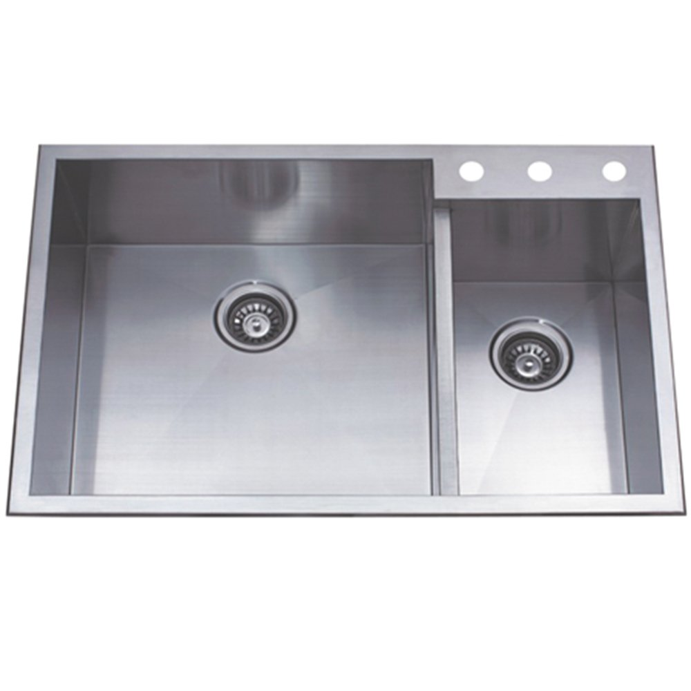 Kingston Brass Gourmetier KDS33229DBNR Uptowne 33 Inch X 22 Inch  Self Rimming 70/30 Double Bowl Sink, Brushed Stainless Steel     Amazon.com
