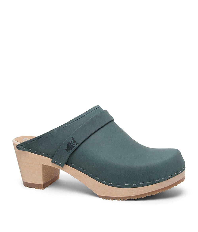 Denim (Nubuck Leather) Sandgrens Swedish High Heel Wooden Clog Mules for Women   Dublin
