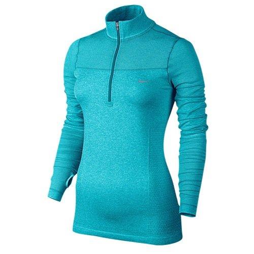 Nike Women's Dri-Fit Half Zip Knit Long Sleeve Top (Sky Blue, MD) (Nike Dri Fit Knit Long Sleeve Half Zip)