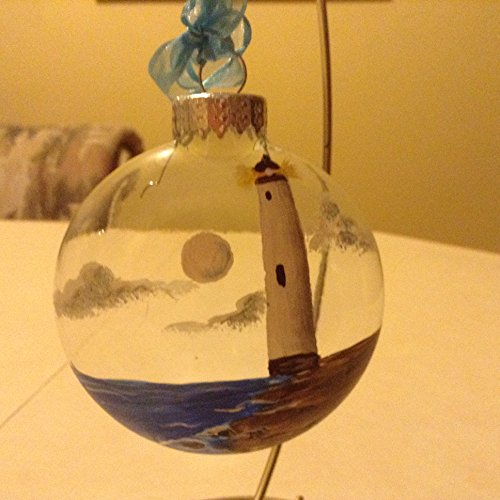 Hand Painted Glass Ornament, Lighthouse and Rocky (Hand Painted Lighthouse)