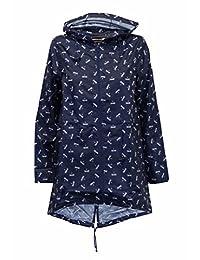 Womens Rain Printed Kagoul Coat Hooded Fish Tail Jacket