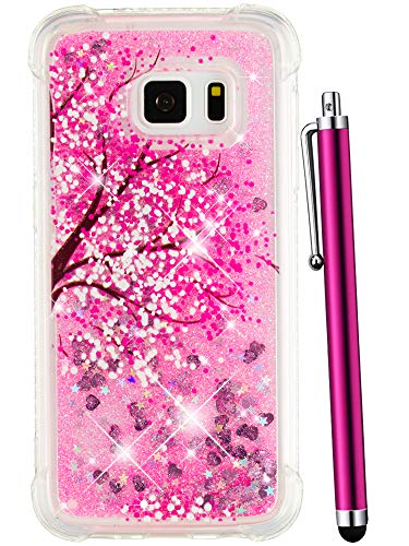CAIYUNL for Galaxy S7 Case, Luxury Glitter Bling Liquid Sparkle Quicksand Floating Flowing Women Girls Clear TPU Silicone Protective Cute Fashion Phone Case Cover for Samsung Galaxy S7 -Hot Pink Tree
