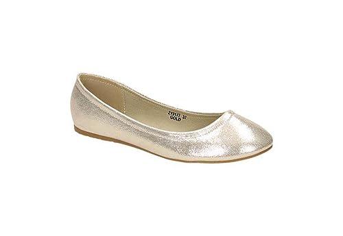 Jumex Damen Ballerinas Halbschuhe Slipper Flats Sommer Freizeit BAZY9177 (39, Gold)