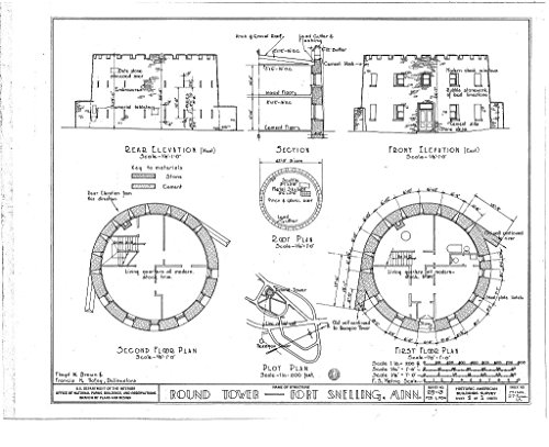Snelling Round Print - Blueprint Diagram HABS MINN,27-FOSNEL,1A- (sheet 1 of 1) - Fort Snelling, Round Tower, Bound by Mississippi River, Airport, Minnehaha Park, Minneapolis, Hennepin County, MN 44in x 32in